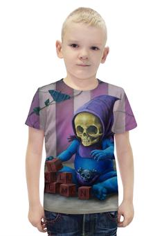 """Футболка с полной запечаткой для мальчиков """"Art Horror"""" - skull, череп, кот, cat, кубики"""
