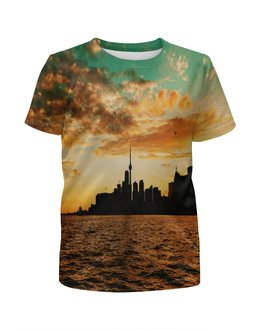 """Футболка с полной запечаткой для мальчиков """"Вечерний город"""" - море, город, природа, здания, мегаполис"""
