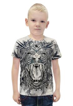 """Футболка с полной запечаткой для мальчиков """"Тигр. Маска"""" - графика, маска, тигр"""