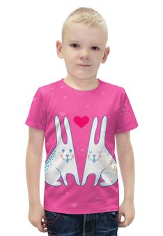 """Футболка с полной запечаткой для мальчиков """"Милые зайцы"""" - кролик, rabbit, зайцы, день влюбленных"""