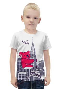"""Футболка с полной запечаткой для мальчиков """"Коала"""" - red, иллюстрация, коала, кинг-конг"""