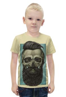 """Футболка с полной запечаткой для мальчиков """"Skull Art"""" - skull, череп, борода, artwork, арт дизайн"""