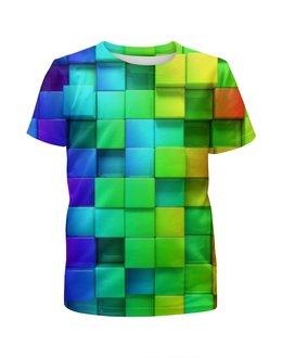 """Футболка с полной запечаткой для мальчиков """"Кубики"""" - радуга, цвета, фигура, квадрат, фон"""