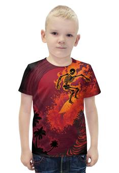 """Футболка с полной запечаткой для мальчиков """"Огненная волна"""" - череп, скелет, огонь, пальмы, сёрфинг"""