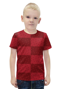 """Футболка с полной запечаткой для мальчиков """"Красный геометрический узор"""" - красный, горох, прямоугольник, оттенок"""