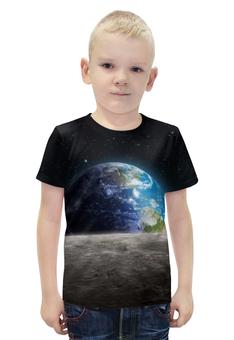 """Футболка с полной запечаткой для мальчиков """"Земля с луны"""" - звезда, звезды, космос, земля, луна"""