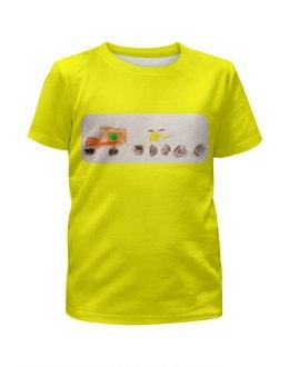 """Футболка с полной запечаткой для мальчиков """"Тягач с вертолетом"""" - футболка, рисунок, детская, желтая, тягач"""
