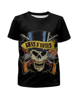 """Футболка с полной запечаткой для мальчиков """"Guns n' roses"""" - heavy metal, glam, guns n roses, хэви метал, guns n' roses"""