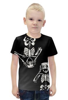 """Футболка с полной запечаткой для мальчиков """"Маски"""" - скелет, кости, маски"""