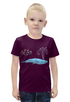 """Футболка с полной запечаткой для мальчиков """"Киты и волны"""" - море, кит, рыба"""