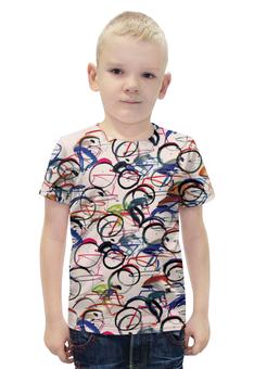 """Футболка с полной запечаткой для мальчиков """"Велосипедисты"""" - абстракция"""