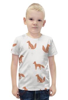 """Футболка с полной запечаткой для мальчиков """"The Fox"""" - животные, лес, иллюстрация, fox, лиса"""
