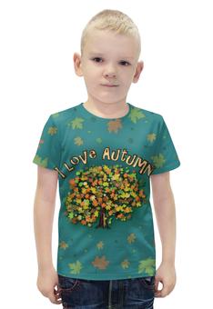 """Футболка с полной запечаткой для мальчиков """"Я люблю Осень"""" - листья, осень, дерево, я люблю, бирюзовый"""