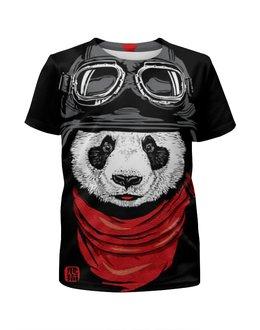 """Футболка с полной запечаткой для мальчиков """"Панда"""" - панда, panda, пилот"""