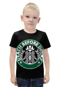 """Футболка с полной запечаткой для мальчиков """"Starbucks / Death Before Decaf"""" - death, кофе, coffee, starbucks, старбакс"""