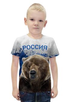 """Футболка с полной запечаткой для мальчиков """"Россия                         """" - медведь, россия, патриотические, путин, флаг россии"""