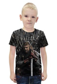 """Футболка с полной запечаткой для мальчиков """"game of thrones ned stark"""" - игра престолов, winter is coming, game of thrones, ned stark, нэд старк"""