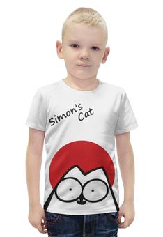 """Футболка с полной запечаткой для мальчиков """"Кот Саймона на солнышке"""" - кот, кошки, коты, саймон, simons's cat"""