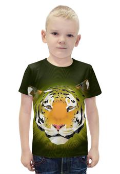 """Футболка с полной запечаткой для мальчиков """"Тигр """" - большая кошка"""