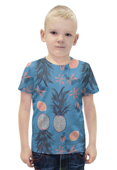 """Футболка с полной запечаткой для мальчиков """"Тропические фрукты"""" - арт, фрукты, винтаж, тропики, тропические фрукты"""