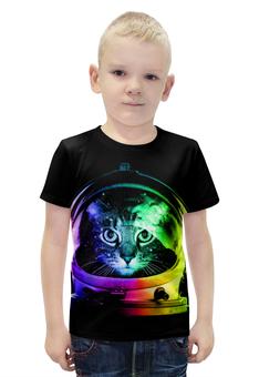 """Футболка с полной запечаткой для мальчиков """"Кот Космонавт"""" - кот, космос, абстракция, космонавт"""
