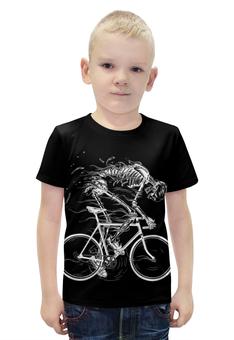 """Футболка с полной запечаткой для мальчиков """"Skeleton Biker"""" - skeleton, скелет, велоспорт, biker, велосипедист"""
