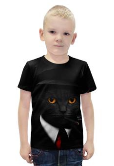 """Футболка с полной запечаткой для мальчиков """"Агент Кот"""" - животные, коты, секретный агент"""
