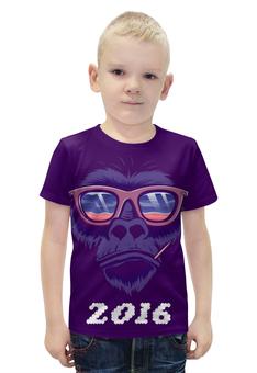 """Футболка с полной запечаткой для мальчиков """"СИМВОЛ ГОДА 2016!!!"""" - прикол, очки, обезьяна, символ, цифры"""