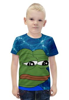 """Футболка с полной запечаткой для мальчиков """"SAD FROG"""" - арт, юмор, мем, грустная лягушка, sad frog"""