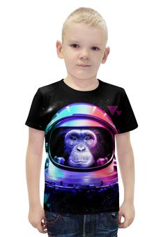 """Футболка с полной запечаткой для мальчиков """"Обезьяна Космонавт"""" - абстракция, обезьяна, космонавт, 2016"""