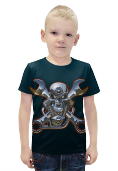"Футболка с полной запечаткой для мальчиков ""Metal Skull"" - череп, heavy metal, байкер, хардкор, biker skull"