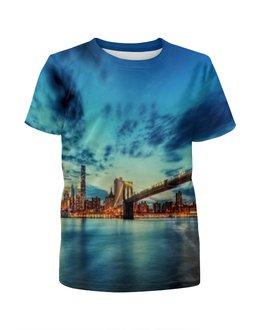 """Футболка с полной запечаткой для мальчиков """"Бруклинский мост"""" - страны, ночь, города, мост, вечер"""