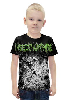 "Футболка с полной запечаткой для мальчиков ""Insect Warfare Band"" - skull, череп, рок музыка, metal music, insert warfare"