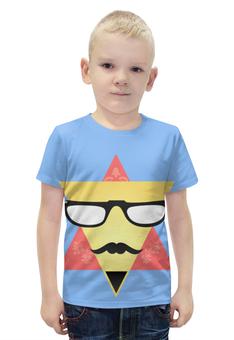 """Футболка с полной запечаткой для мальчиков """" Triangular Face"""" - цветы, рисунок, очки, усы, треугольники"""