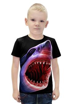 "Футболка с полной запечаткой для мальчиков ""Атака"" - абстракция, рыба, акула, shark"