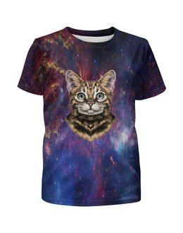 """Футболка с полной запечаткой для мальчиков """"Кот в космосе"""" - кот, звезды, котенок, космос, коты в космосе"""
