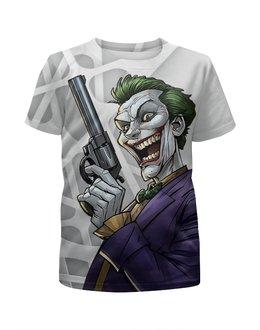 """Футболка с полной запечаткой для мальчиков """"The Joker Design \ Джокер"""" - джокер, dc комиксы, суперзлодей, с пистолетом, оружие"""