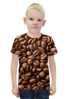 """Футболка с полной запечаткой для мальчиков """"Кофейные зерна"""" - кофе"""