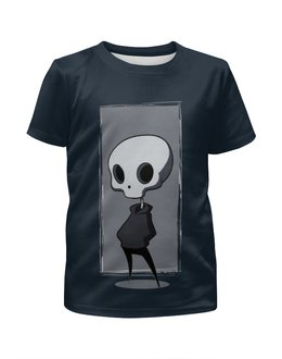 """Футболка с полной запечаткой для мальчиков """"НЛО.   """" - череп, юмор, скелет"""