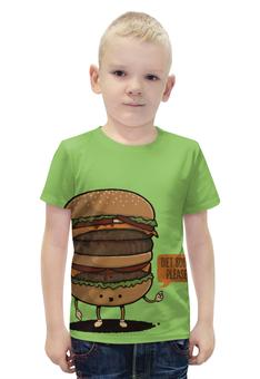 """Футболка с полной запечаткой для мальчиков """"Diet Burger / Бургер"""" - еда, диета, мясо, бургер"""