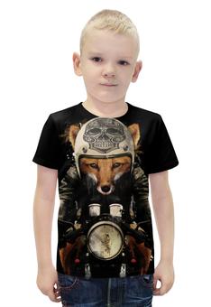 """Футболка с полной запечаткой для мальчиков """"Лис на мотоцикле"""" - череп, fox, лиса, мотоцикл"""