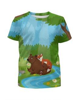 """Футболка с полной запечаткой для мальчиков """"Забавные животные"""" - животные, медведь, лес, природа, лиса"""