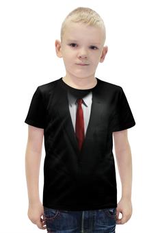"""Футболка с полной запечаткой для мальчиков """"Костюм"""" - черный, красный, галстук, рубашка, костюм"""