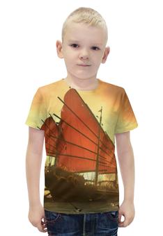 """Футболка с полной запечаткой для мальчиков """"Китайский парусник"""" - китай, парусник, паруса"""