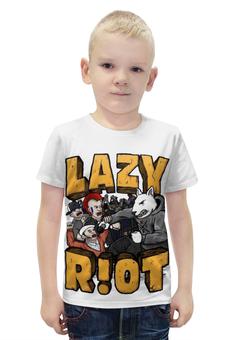 """Футболка с полной запечаткой для мальчиков """"Lazy riot"""" - rock, punk, hardcore"""