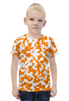 """Футболка с полной запечаткой для мальчиков """"Камуфляж Бело-Оранжевый"""" - армия, камуфляж, camouflage, военный, бело оранжевый камуфляж"""