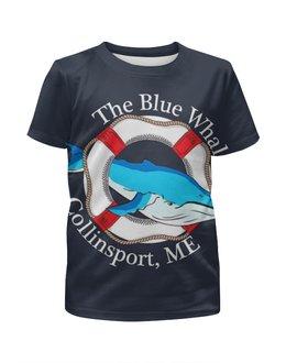 """Футболка с полной запечаткой для мальчиков """"The blue whale """" - рыбка, спасательный круг"""