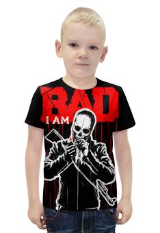 """Футболка с полной запечаткой для мальчиков """"I AM BAD"""" - skull, череп, огонь, автомат, сила"""