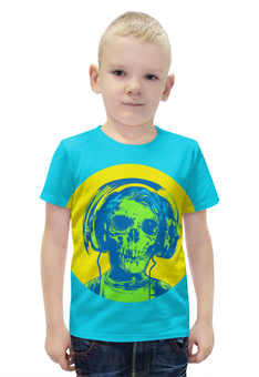 """Футболка с полной запечаткой для мальчиков """"I love music (череп в наушниках)"""" - skull, череп, пластинка, наушкини, love music"""