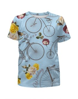 """Футболка с полной запечаткой для мальчиков """"Велосипед"""" - велосипед, спорт, розы"""
